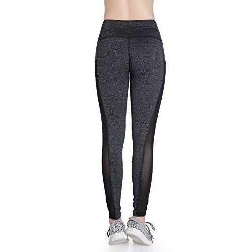 EAST HONG Women's Mesh Yoga Gym Running Workout Leggings with Side Pocket (M, Gray) Activewear EAST HONG