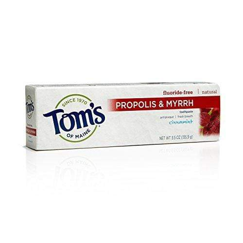 Tom's of Maine 683072 Fluoride-Free Natural Toothpaste with Propolis and Myrrh, Cinnamint, 5.5 Ounce, 24 Count