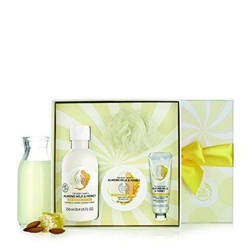 The Body Shop Almond Milk and Honey Festive Picks Gift Set, 4pc Paraben-Free Bath and Body Gift Set