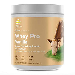 Ancient Nutrition Grass-Fed Whey Protein, Vanilla Flavor — 20g of Protein Per Serving — Non-GMO, No Gluten, Growth Hormones, Antibiotics, Pesticides, or Fillers — Dr. Axe Formula
