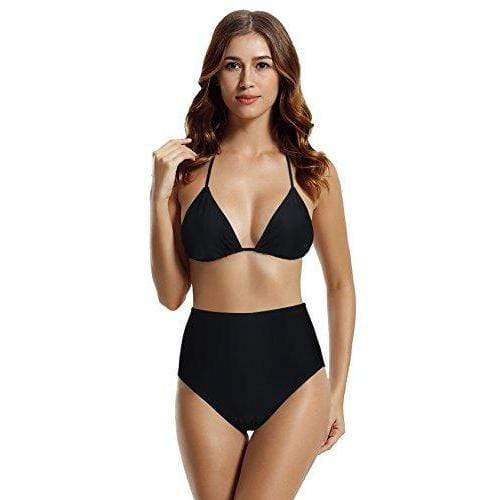zeraca Women's Retro High Waisted Bottom Triangle Bikini Swimsuits (S6, Black) Women's Swimwear zeraca