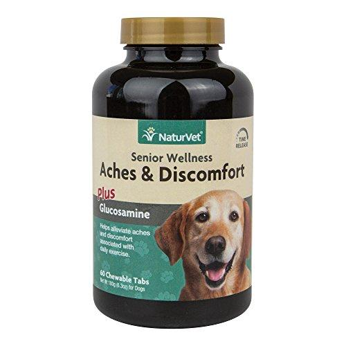 NaturVet Senior Wellness Aches & Discomfort Plus Glucosamine for Dogs, 60 ct Time Release, Chewable Tablets, Made in USA