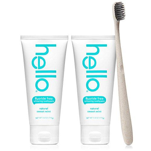 Hello Oral Care Whitening Fluoride Free Toothpaste Twin Pack with Tan BPA-Free Toothbrush, Natural Sweet Mint