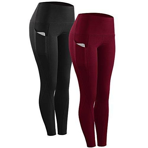 Neleus High Waist Running Workout Leggings for Yoga with Pockets 1 Or 2 Pack Activewear Neleus