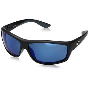 Costa del Mar Saltbreak Polarized Iridium Wrap Sunglasses, Black with Blue Mirror Polarized Lens, 64.5 mm