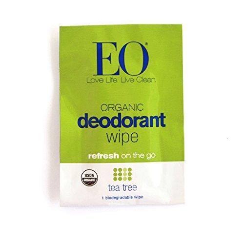 EO Organic Biodegradable Deodorant Wipes, Tea Tree, 6 Count (Pack of 12) Beauty & Health EO