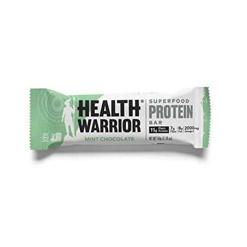 Superfood Protein Bars, Mint Chocolate, Plant-Based Protein, 12 count Food & Drink Health Warrior