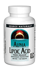 Source Naturals Alpha Lipoic Acid 300mg Powerful Time Released Antioxidant, Anti-Inflammatory Supplement - Supports Blood Sugar Levels, Weight Management and Cellular Energy Regeneration - 120 Tabs