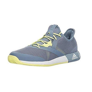 adidas Men's Adizero Defiant Bounce Tennis Shoe, Raw Grey/White/Semi Frozen Yellow, 11.5 M US