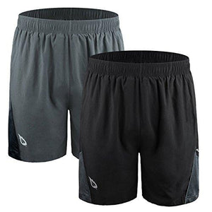 "Baleaf Men's 7"" Quick Dry Workout Running Shorts Mesh Liner Zip Pockets 2-Pack Black/Grey Size L"
