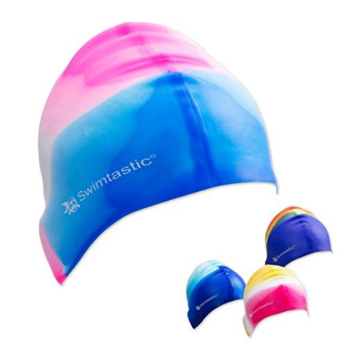 Swimtastic® Tie Dye Silicone Swim Cap - 4 Fun Designs For Women, Men & Kids (Blue/Pink) Swim Cap Swimtastic®