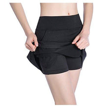 EAST HONG Women's Tennis Skorts Exercise Golf Running Skirt (X-Large, Black)