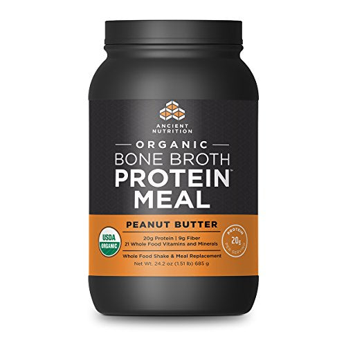 Ancient Nutrition Organic Bone Broth Protein Meal, Peanut Butter Flavor, 15 Serving Size - Organic, Gut-Friendly, Paleo-Friendly, Protein Meal Replacement