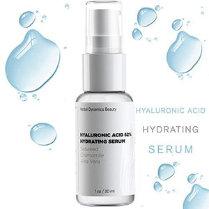 HD Beauty Hyaluronic Acid 62% Hydrating Serum with Aloe, Vitamin C, and Chamomile for Anti-Aging, Radiance and Facial Plumping, 1 oz.