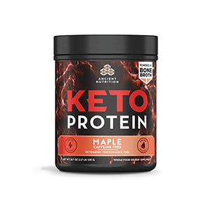 Ancient Nutrition KetoPROTEIN Powder Maple, 17 Servings - Keto Diet Supplement, High Quality Low Carb Proteins and Fats from Bone Broth and MCT Oil
