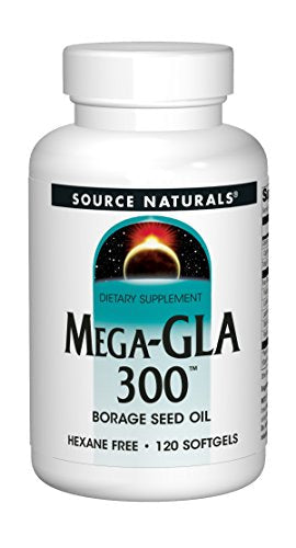 Source Naturals Mega-GLA 300 - 100% Pure, Cold Pressed Borage Seed Oil, Fatty Acid - 120 Softgels