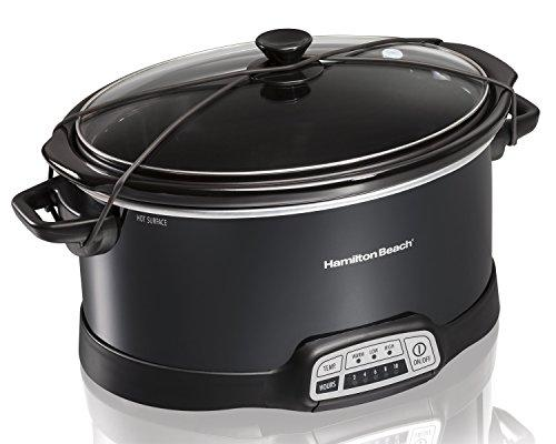 Hamilton Beach Programmable Slow Cooker, 7-Quart with Lid Latch Strap, Black (33474) Kitchen & Dining Hamilton Beach