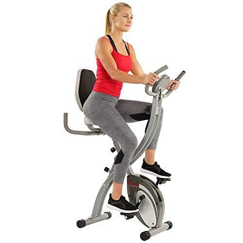 Sunny Health & Fitness Comfort XL Ultra Cushioned Seat Folding Exercise Bike with Device Holder, Gray, Model:SF-B2721