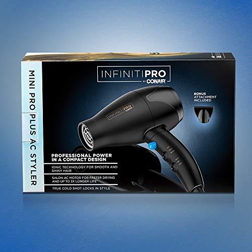 INFINITIPRO BY CONAIR Mini Pro Plus Hair Dryer/Styler with AC Motor, Black