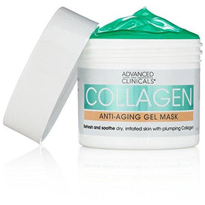 Advanced Clinicals Collagen Anti-Aging Gel Mask with Coconut Oil and Rosewater. Plumping mask for wrinkles, fine lines. Supersize 5.5oz (5.5oz)