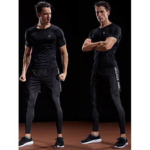Neleus Men's Compression Baselayer Athletic Workout T Shirts 1 Or 3 Pack Activewear Neleus