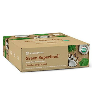 Amazing Grass Green Superfood Whole Food Nutrition Bar - Chocolate Chip Coconut 12-2.1 OZ. (60 G) BARS