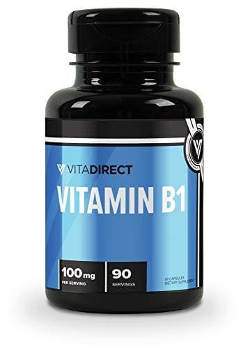 VitaDirect Premium Vitamin B1 100mg, 90 Capsules - High Quality Vitamin B1 Thiamine Supplement