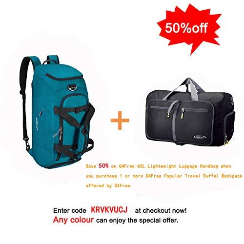 G4Free 3-Way Travel Duffel Backpack Luggage Gym Sports Bag with Shoe Compartment (Cyan)