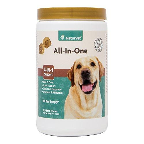 NaturVet All-in-One Dog Soft Chew Supplement, Skin & Coat Health, Joint Support, Digestive Health, Vitamin and Mineral Support, Overall Health Boost For Your Dog, Made by Animal Wellness NaturVet