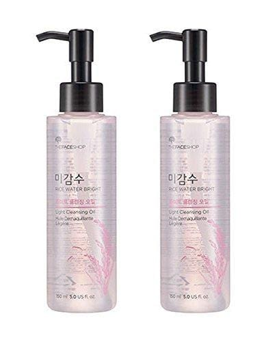 The Face Shop Facial Cleanser, Natural Rice Water Light Cleansing Oil Moisturizer for Dry or Oily Skin - 150 mL / 5 Oz (2 Count)