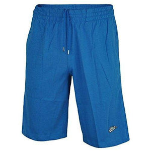 Nike Mens Shorts Jersey Long 3DLogo Cotton ShortsBlack/Grey/Blue S-XL 558380 (L, Blue)