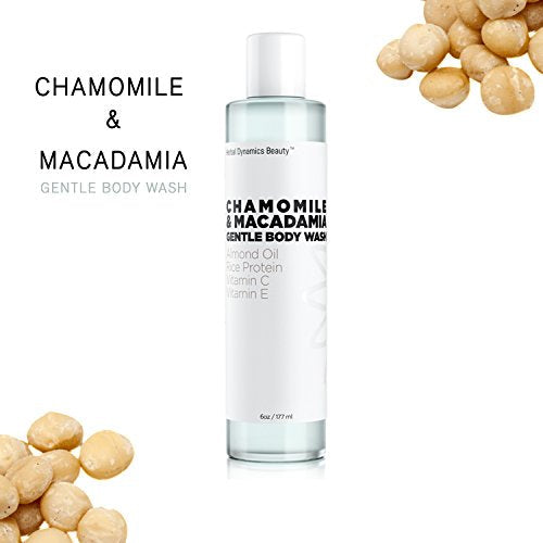 HD Beauty Chamomile + Macadamia Gentle Body Wash with Almond Oil, Rice Protein, Vitamin C and Vitamin E For Soothing and Hydrating Dry Skin, 6.0 oz.