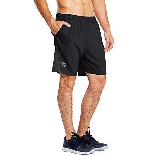 "Baleaf Men's 7"" Quick Dry Workout Running Shorts Mesh Liner Zip Pockets 2-Pack Black/Grey Size L Activewear Baleaf"