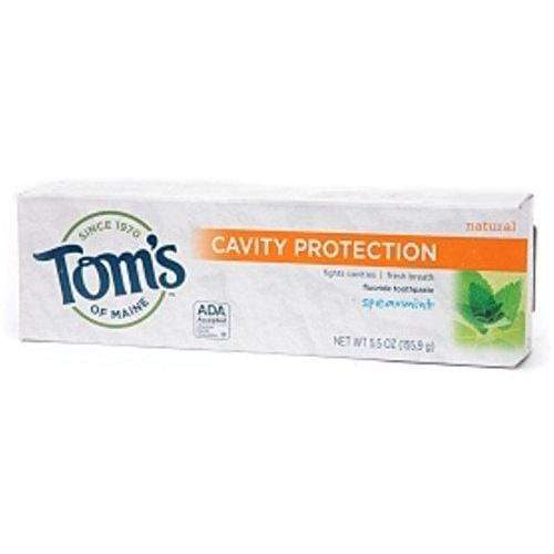 Tom's of Maine Cavity Protection Natural Flouride Toothpaste, Spearmint 5.5 oz (Pack of 4)