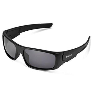 Duduma Tr601 Polarized Sports Sunglasses for Baseball Cycling Fishing Golf Superlight Frame (black frame/black lens)