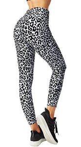 FITTIN Leopard Printed Yoga Leggings for Women with Pocket - Ankle Length Pants for Running Sports Fitness Workout Gym Grey X-Large