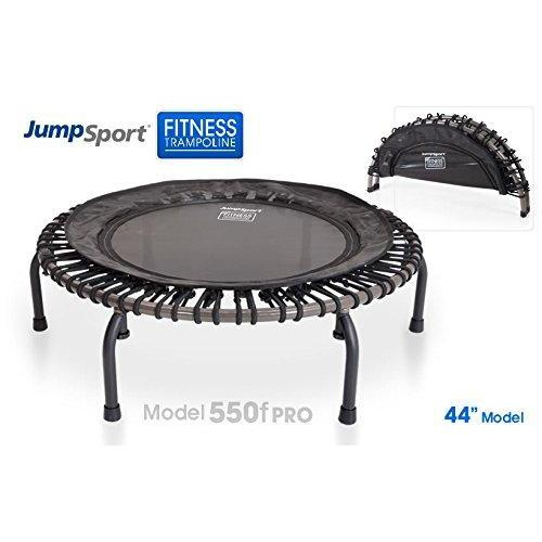 JumpSport 550F PRO | Folding Fitness Trampoline | Easy Transport | Professionals Choice | Extra Large Surface | No-Tip Arched Legs | Top Rated for Quality & Durability | 4 Music Workout Vids Incl.
