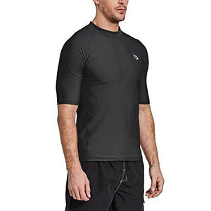 Baleaf Men's Short Sleeve Rashguard Swim Shirt UPF 50+ Sun Protection Rash Guard Black Size L