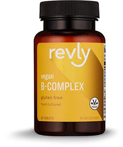 Amazon Brand - Revly Food-Cultured B-Complex, 60 Tablets, 1 Month Supply, Vegan