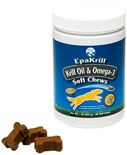 Antarctic Krill Oil Soft Chews for Dogs- Reduces Shedding | Skin & Coat | High in Omega 3 EPA & DHA | Astaxanthin | 1 Pound, 60 Soft Chews | Great Value Animal Wellness Global Pet