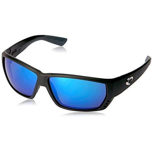 Costa Del Mar Tuna Alley Sunglasses, Matte Black, Blue Mirror 580 Glass Lens