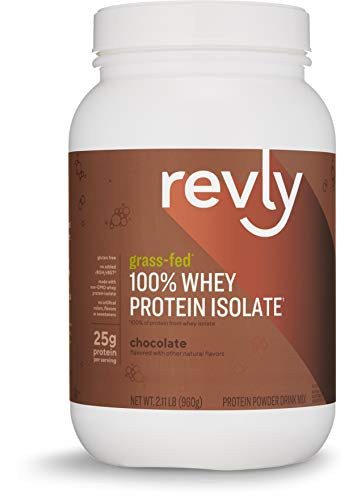 Amazon Brand - Revly 100% Whey Protein Isolate Powder, Chocolate, Grass-Fed, 2 lb, 30 Servings