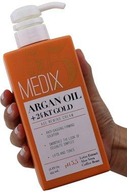 Medix 5.5 Argan Oil Cream with 24kt Gold. Anti-sagging firming cream to reduce the look wrinkles, cellulite, and blemishes. 15oz