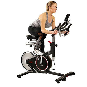 Sunny Health & Fitness Magnetic Rear Belt Drive Indoor Cycling Bike with RPM Cadence Sensor - SF-B1709, Black