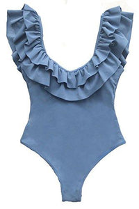 CUPSHE Women's Solid Blue Ruffled Hem One-Piece Swimsuit Backless Bathing Suit Monokini Small