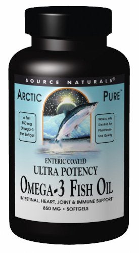 Source Naturals ArcticPure Omega-3 Fish Oil Ultra Potency 850mg Enteric Coated EPA/DHA for a Healthy Heart, Joints and Immune System - Molecularly Distilled for Pharmaceutical Quality - 120 Softgels