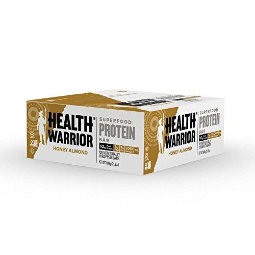 Superfood Protein Bars, Honey Almond, Plant-Based Protein, 50g bars, 12 count Food & Drink Health Warrior