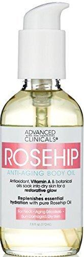Advanced Clinicals Rosehip Body Oil. Anti-Aging oil with Vitamin A for neck, decollete, sun damaged, dry skin. 4oz.