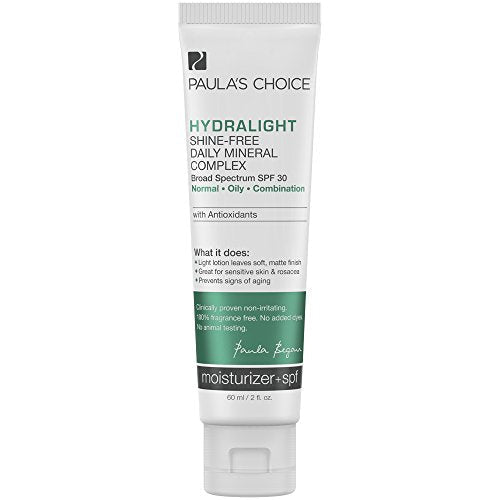 Paula's Choice HYDRALIGHT Shine-Free Mineral Complex SPF 30 Mineral Sunscreen + Antioxidants, 2 Ounce Bottle, Matte-Finish Sunscreen for the Face, Sensitive Skin Facial Sunscreen