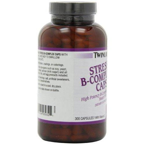 Twinlab Stress B-Complex Capsules with Vitamin C, 300 Count Supplement Twinlab